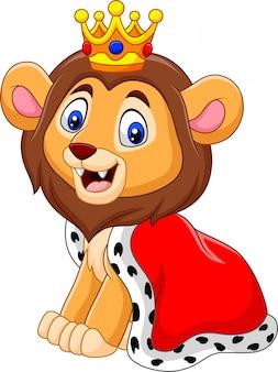 Cartoon schattige leeuwenkoning