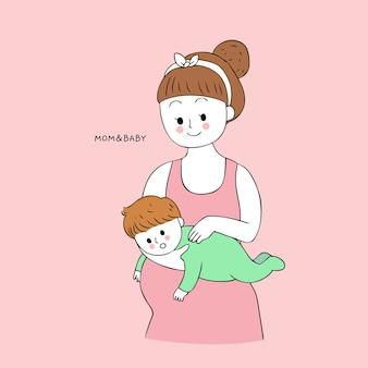 Cartoon schattige moeder en baby boeren vector.