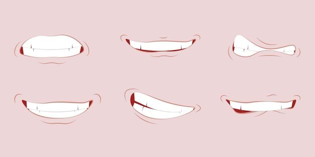 Cartoon schattige mond uitdrukkingen gezichtsgebaren