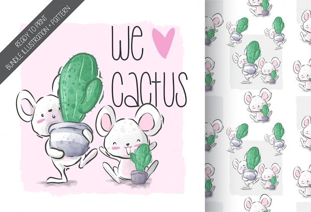 Cartoon schattige muis met cactus naadloze patroon