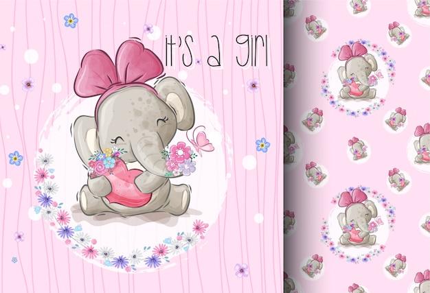 Cartoon schattige olifant met minnaar bloemen naadloos patroon