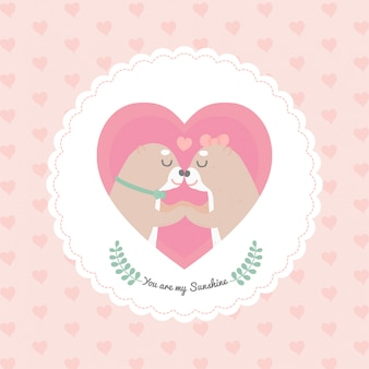 Cartoon schattige otter hart frame