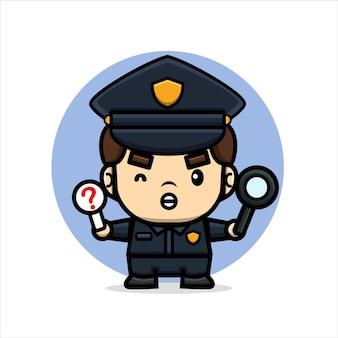 Cartoon schattige politie houdt vergrootglas vast en verbiedt bord