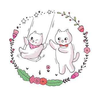 Cartoon schattige vader en baby kat spelen schommel, bloem cirkelframe