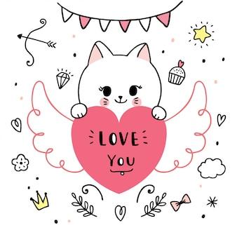 Cartoon schattige valentijnsdag katten en hart doodle vector.