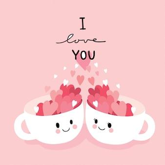 Cartoon schattige valentijnsdag paar katten en hart vector.