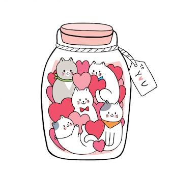 Cartoon schattige valentijnsdag witte katten en veel harten in glazen fles.