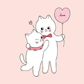 Cartoon schattige valentijnsdag witte katten minnaar knuffelen