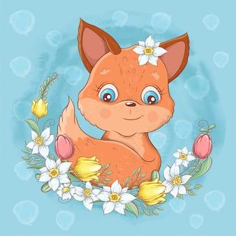 Cartoon schattige vos portret met een krans van lente bloemen hand tekenen. vector illustratie