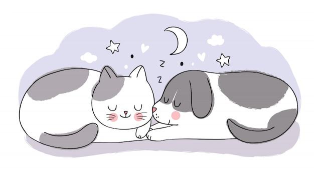 Cartoon schattige zoete droom, schattige kat en hond samen slapen