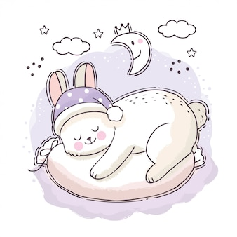 Cartoon schattige zoete droom, witte konijn slapen 's nachts