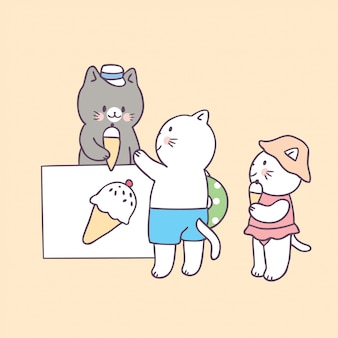 Cartoon schattige zomer kat en ijs vector.