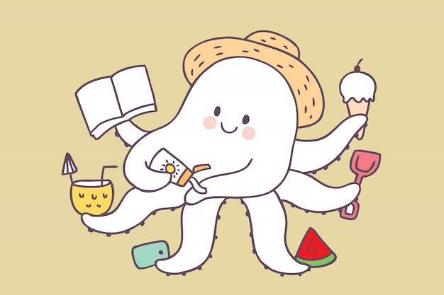 Cartoon schattige zomer octopus ontspannen
