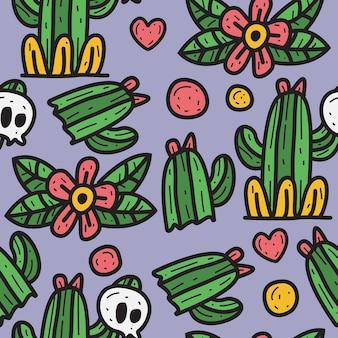 Cartoon schedel en cactus doodle patroon ontwerp