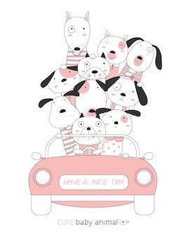 Cartoon schets de hond schattige babydieren met de roze auto. handgetekende stijl.