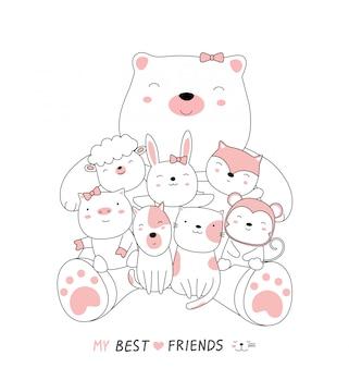 Cartoon schets de schattige beer babydieren met vrienden.
