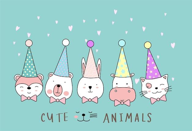 Cartoon schets de schattige dieren handgetekende stijl