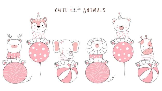 Cartoon schets de schattige dieren met ballon handgetekende stijl