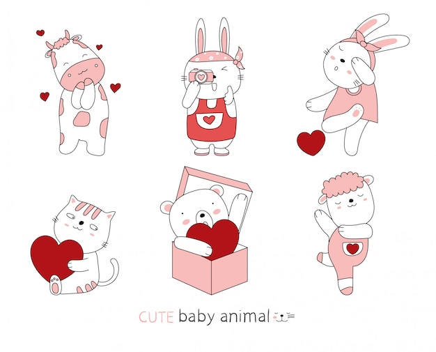 Cartoon schets de schattige houding baby dieren. valentijnsdag met hand getrokken stijl.