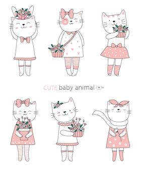 Cartoon schets de schattige kat baby dieren. handgetekende stijl.