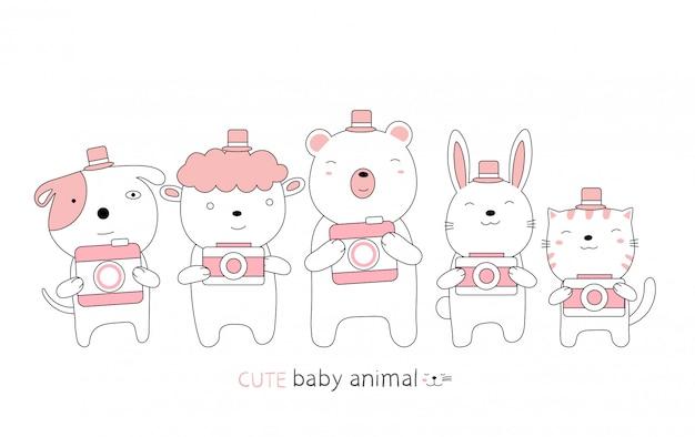 Cartoon schets het schattige babydier en de camera. handgetekende stijl.
