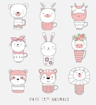 Cartoon schets schattige baby dier met kop