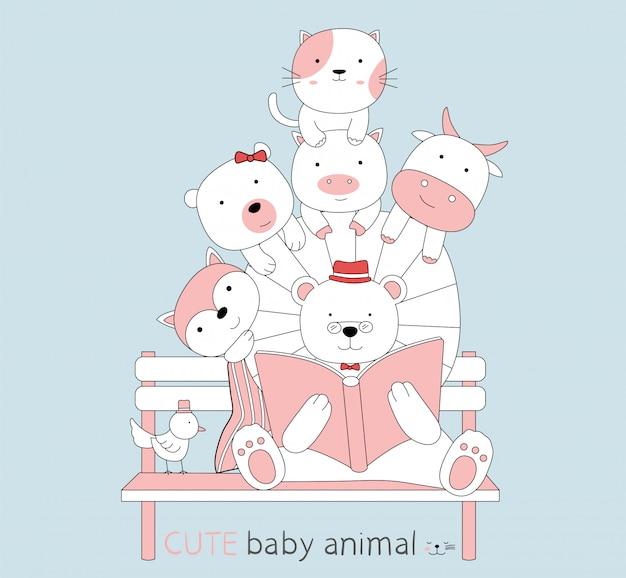 Cartoon schets schattige baby dieren lezen een boek