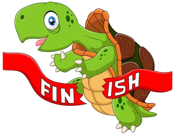 Cartoon schildpad wint door de finishlijn te overschrijden