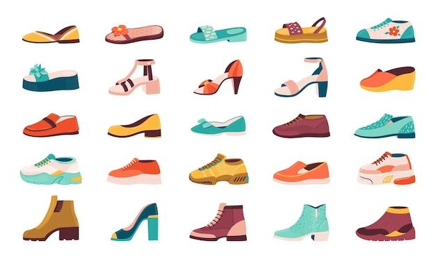 Cartoon schoenen. platte herfstschoenen, hardloopschoenen en zomersandalen, mannelijke en vrouwelijke sneakers en laarzencollectie. vector geïsoleerde illustratie set schoenen
