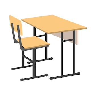 Cartoon school desk. geïsoleerde vectorillustratie.