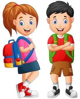 Cartoon school jongen jongen en meisje. illustratie