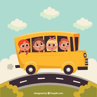 Cartoon schoolbus en kinderen met een plat ontwerp