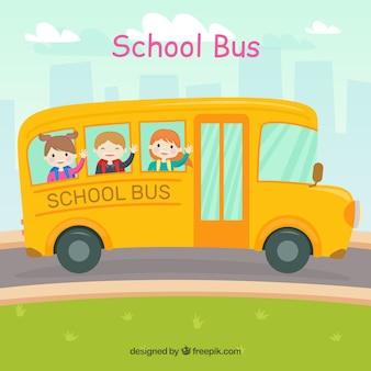 Cartoon schoolbus met kinderen