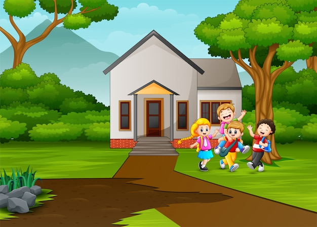 Cartoon schoolkinderen vooraan het huis