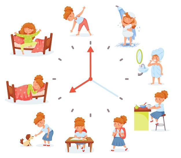 Cartoon schoolmeisje dagelijkse routine-activiteiten oefenen dagelijks schema voor de hygiëne van het schoolgaande kind