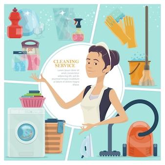 Cartoon schoonmaak service kleurrijke concept met meid handschoenen emmer water ijzer schone plaat glazen wassen poeder spray flessen
