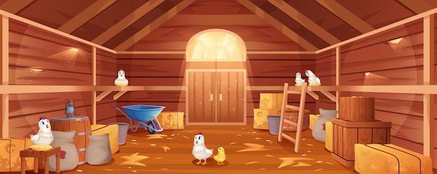Cartoon schuur interieur met kippen, stro en hooi. boerderij binnen uitzicht. traditionele houten ranch met hooibergen, zakken, poort en raam. oud schuurgebouw met kippennesten en tuingereedschap.