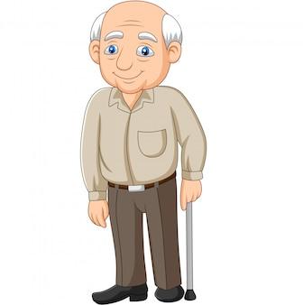 Cartoon senior bejaarde oude man