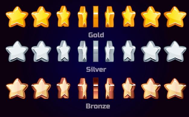 Cartoon set animatie metalen sterren