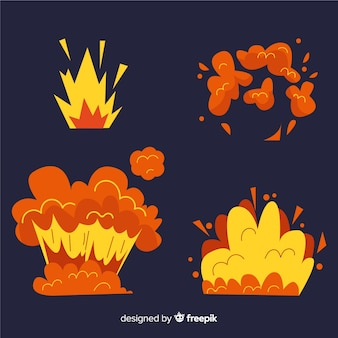 Cartoon set bomexplosie-effecten