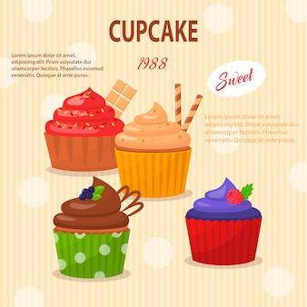 Cartoon set cupcakes met heerlijke vulling.