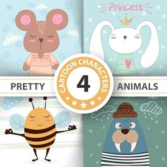 Cartoon set dieren beer, konijn, honingbij, walrus