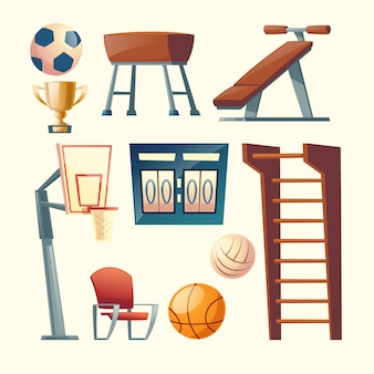 Cartoon set fitnessapparatuur voor school, college. basketbal, volleybal competitie-elementen