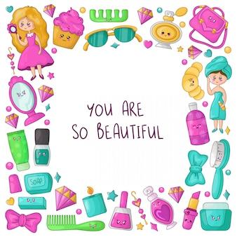 Cartoon set, frame - kawaii meisje en cosmetica, mode dingen, meisjes accessoire, vector plat