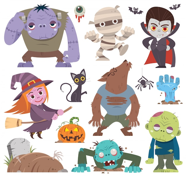 Cartoon set halloween-tekens.