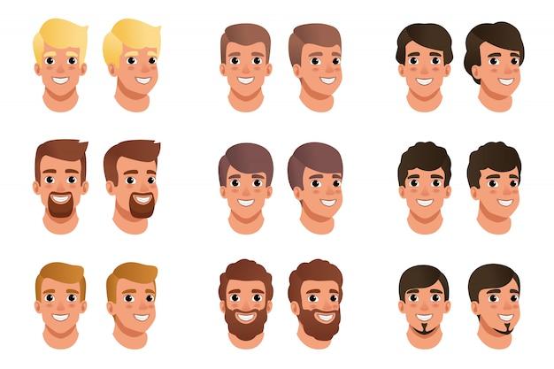 Cartoon set mannen avatars met verschillende kapsels, kleuren en baarden zwart, blond, bruin. menselijk hoofd. man met lachende gezicht expressie.
