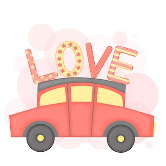 Cartoon set met dieren en belettering voor valentijnsdag. stickers in de auto.