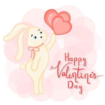 Cartoon set met dieren en belettering voor valentijnsdag. stickers in de haas.