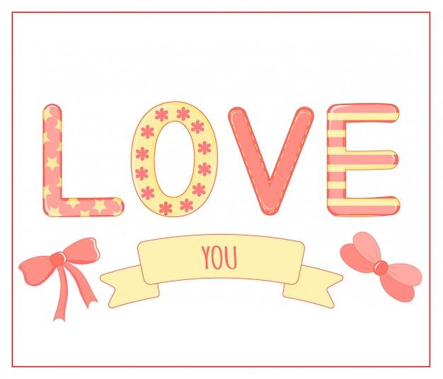 Cartoon set met dieren en belettering voor valentijnsdag. stickers in de letters.