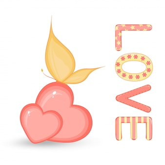 Cartoon set met dieren en belettering voor valentijnsdag. stickers in de schattige harten met vlinder.